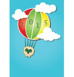 Hot air balloon in the sky and Happy New Year vector