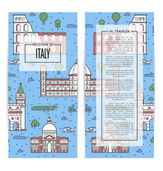 italy traveling flyers set in linear style vector image