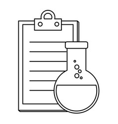 laboratory tube test flask and checklist vector image