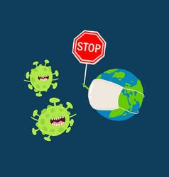 Medecine mask earth corona virus graphics vector