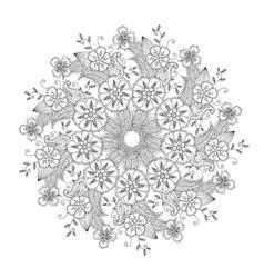 Mendie Mandala with flowers and leaves Zenart vector image
