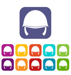Military helmet icons set vector