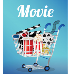 movie film 3d glasses and movie ticket in a cart vector image