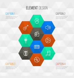Multimedia outline icons set collection of cover vector