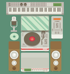 Music production flat icon set vector