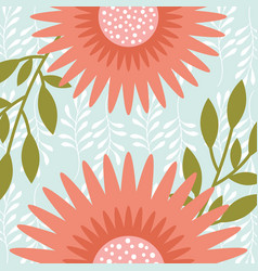 natural pink flowers branches leaves vector image
