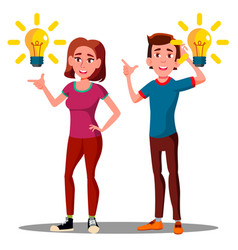 new idea happy teenager guy girl with bulb over vector image