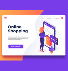 online shopping landing page internet shop vector image