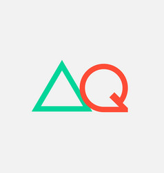 Orange green alphabet letter logo combination aq vector