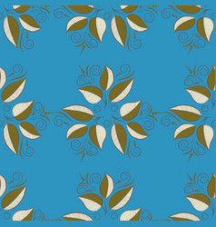 Print on tropical theme pattern on a blue brown vector