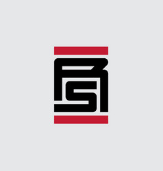 rs or r5 - logotype with letters and parallel red vector image