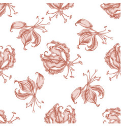 seamless pattern with hand drawn pastel gloriosa vector image