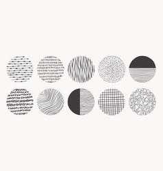 Set circle hand drawn patterns textures vector