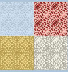set four seamless geometric patterns vector image
