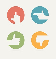 Set Icon hand gestures good bad left vector image