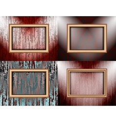 Set of Blank frame on a colored wall lighting vector