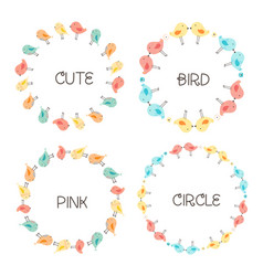 set of cute bird round frames for decoration vector image