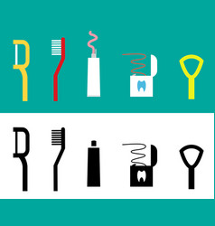 set of dental care tool flat icon vector image