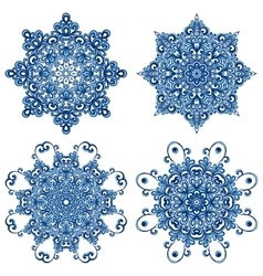Set of mandalas in gzhel style Orient patterns vector image