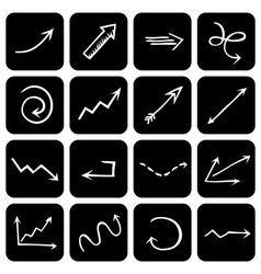 set of square icons with hand-drawn arrows vector image