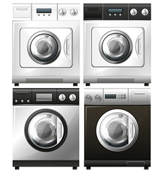 Set of washing machines in different designs vector image