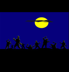 Silhouette zombies have moon and blue background vector