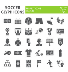 soccer glyph icon set football symbols collection vector image