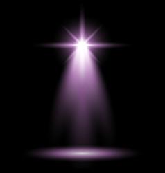 Spotlight glow effect light beam purple color vector