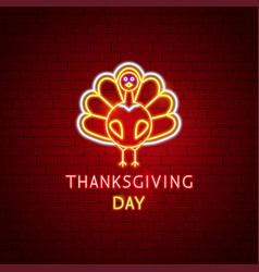 Thanksgiving day turkey neon label vector