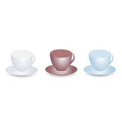 three empty cups mockups with saucers vector image