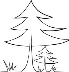 Tree - black outline vector