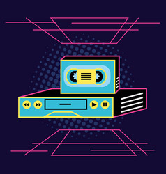 Vhs and cassette nineties retro vector