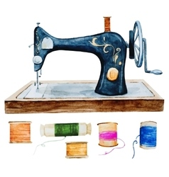 Vintage retro watercolor sewing machine vector