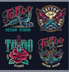 Vintage tattoo studio colorful labels vector