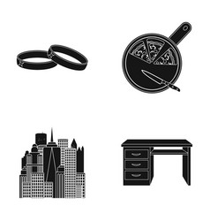 Wedding rings pizza and other web icon in black vector