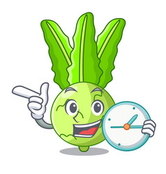 With clock character kohlrabi on a wooden table vector