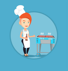 woman cooking steak on barbecue grill vector image