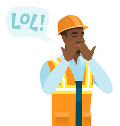 Young african-american builder laughing out loud vector