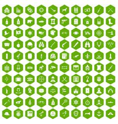 100 guns icons hexagon green vector