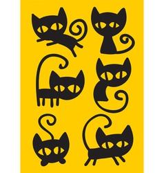 black cat set vector image vector image