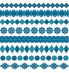 blue moroccan border patterns vector image vector image