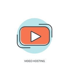 Flat lined play icon Video hosting vector image vector image