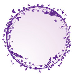 frame with lilac butterflies and dragonflies vector image
