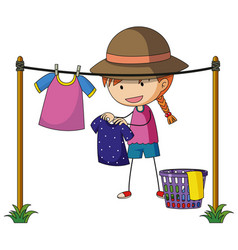 girl doing laundry outside vector image vector image