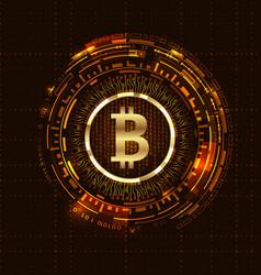 Golden bitcoin digital currency futuristic money vector