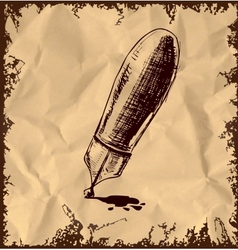 Ink pen with blot isolated on vintage background vector image vector image