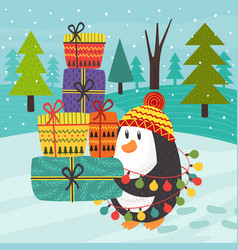 penguin carries many gifts vector image