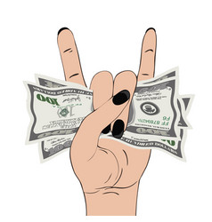 rock-n-roll hand gesture with clutched currency vector image vector image
