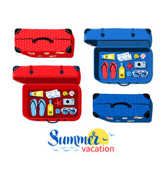 top view collection of summer vacation suitcases vector image