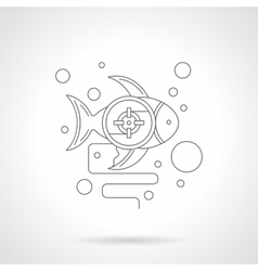 Underwater photo hunt detailed line icon vector image vector image
